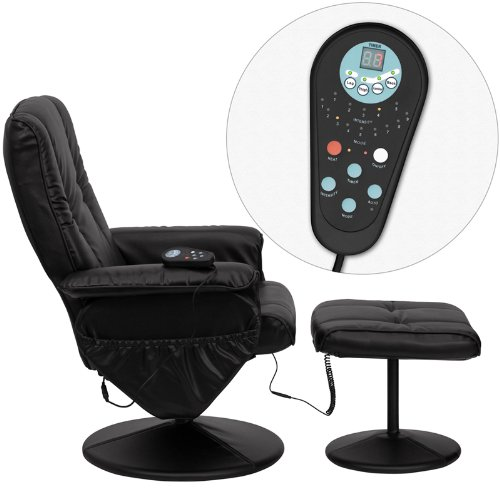 Best Massage Chair reviews - T & D Enterprises BT-7600P-MASSAGE-BK-GG Massaging Black Leather Recliner and Ottoman