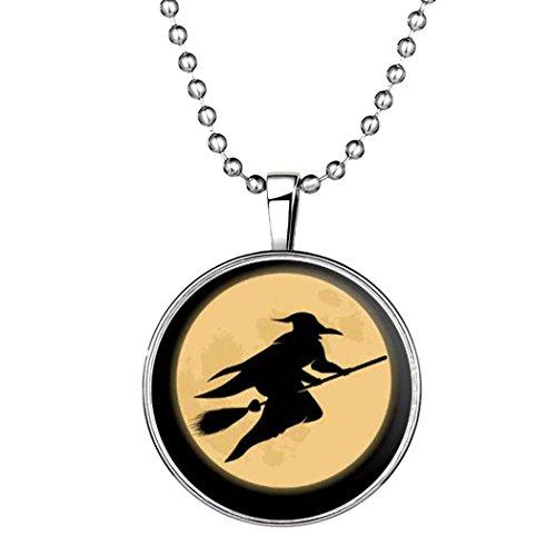 YC Top Design originale Halloween strega notte luminosa ciondolo collana