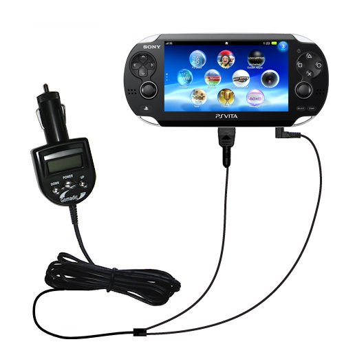 Sony Playstation Vita Compatible Integrated 12V Dc Car Charger And Fm Transmitter - Uses Gomadic Tipexchange To Play Music On The Fm Radio