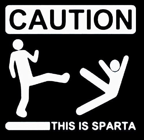 Caution This Is Sparta 300 Molon Labe Vinyl Decal Sticker|Cars Trucks Vans Walls Laptops|WHITE|5.5 In|KCD543 (Chrysler 300s Emblem compare prices)