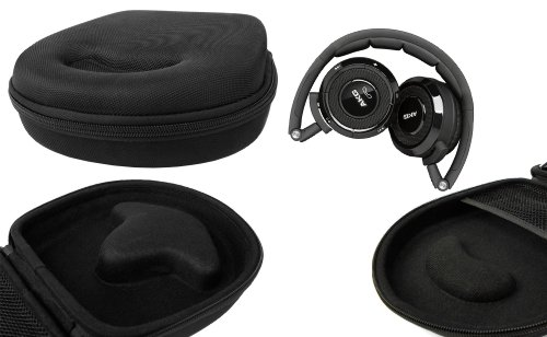 Duragadget Hard Eva Small Storage Case For Headphones / Earbuds For Akg: K 450, K451, K550. Wesc: Piston, Tambourine. Thomson: Whp 3001. Akai: Ah-48S Silver, Koss Sb-45 - With Netted Compartment (Black)