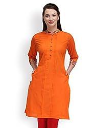 Adyana Mandarin Collar Pin Tuck Cotton Kurta (Medium)
