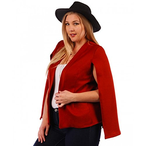 Yummy Plus-Sized Women's Cape Red Blazer