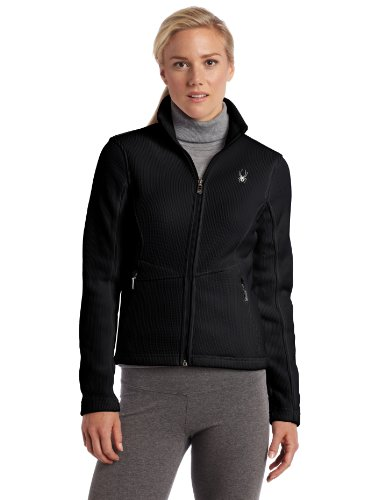 Spyder Women's Full Zip Mid Weight Sweater, Black, Small