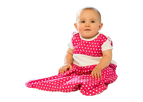 100% Cotton Pink Polka Dot Newborn Sleeping Bag - 1 TOG - Small (0-6 Months)