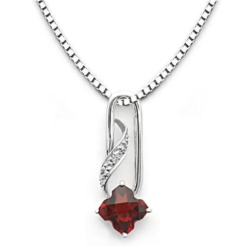 18k White Gold Clover Shaped Garnet and Diamond Pendant