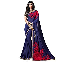 Vishal Navy blue Georgette Heavy Embroidery and mirror work on saree & Blouse Saree