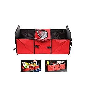 Foldable Multi Compartment Fabric Car Truck Van SUV Storage Basket Trunk Organizer and Cooler Set Random Color