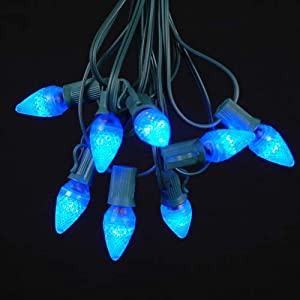 Novelty Lights, Inc. C7 LED Outdoor Patio Party Christmas String Light Set, Blue, Green Wire, 25 ...