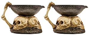 Set Of 2 6 Inch Skull Tea Light/ Pillar Candle Holders Halloween Decoration from Ganz