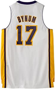 NBA Los Angeles Lakers White Swingman Jersey Andrew Bynum #17 by adidas