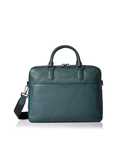 Emporio Armani Grained Leather Briefcase, Dark Green