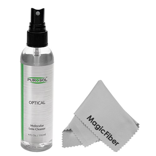 4 Oz. Purosol All Natural Optical Lens And Lcd Cleaner (Mist Spray Bottle) + Magicfiber Microfiber Cleaning Cloth