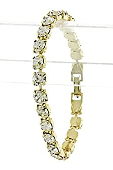 buy Trendy Fashion Jewelry Round Crystal Chain Bracelet By Fashion Destination | (Clear/Gold)