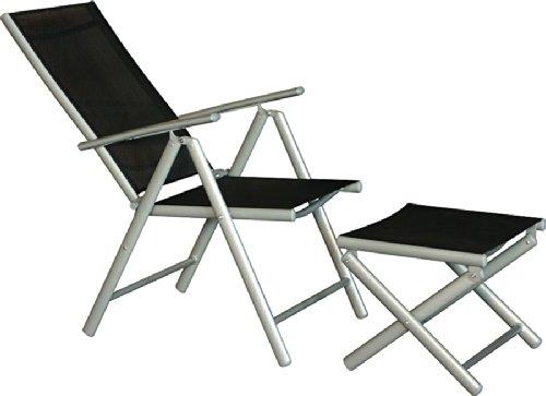 IB-Style - Mobili da gardino STAR | 5 variazioni | 2x sedia pieghevole + 2x cuscino + 2 sgabello in argento / nero | grouppo - set - lounge - resistente alle intemperie