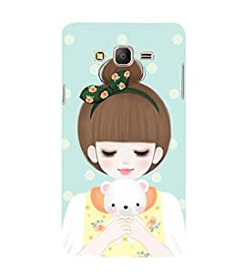 Girl with teddy bear in Hand 3D Hard Polycarbonate Designer Back Case Cover for Samsung Galaxy On5 :: Samsung Galaxy On 5 G550FY