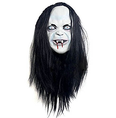 Latex Creepy Scary Halloween Toothy Zombie Ghost Mask Scary Emulsion Skin with Hair