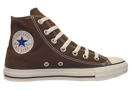 Converse Chuck Taylor All Star Hi Top Chocolate Canvas Shoes with Extra Pair of Chocolate Laces