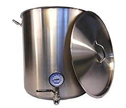 HomeBrewStuff 25 Gallon Heavy Duty Home Brewing Kettle w/ Valve and Thermometer Commercial Grade NSF Rating