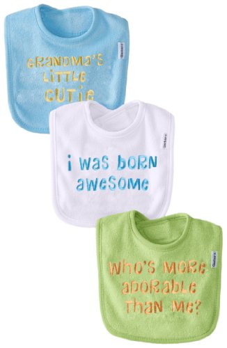 Gerber Unisex-Baby Newborn 3 Pack Terry Bib With Sayings - Neutral, Green, One Size