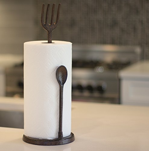 Fork And Spoon Cast Iron Decorative Paper Towel Holder