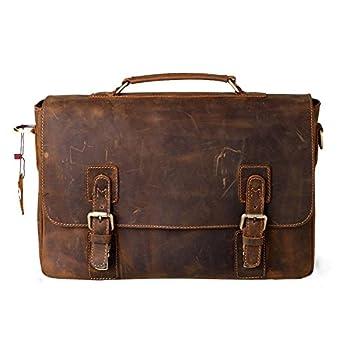 """Kattee Mens Crazy Horse Leather Shoulder Briefcase,14"""" Laptop Bag Tote"""