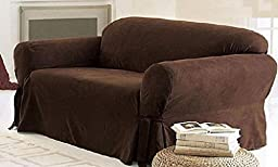 Legacy Decor 1 PC Furniture Slipcover for Loveseat, Soft Micro Suede. Brown Color