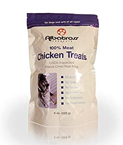 Albatross Products Freeze Dried Chicken Treats for Dogs and Cats, Hand-Inspected & USDA Approved, 8-ounce-Healthy & Delicious-4.9 Stars Make it the Top Chicken Treat on Amazon-All Natural Made with 100% Chicken-Made in the USA! Your Pet will be happy