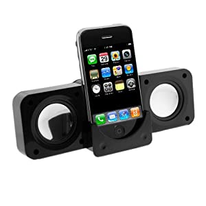 Black Portable Folding Stereo Speaker For Apple iPod Touch Ithouch Classic, Video, iPhone 1G 3G