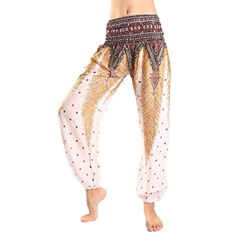 [Rita & Risa Women's Beautiful Boho Peacock Tail Design Printed Hippie Harem Pants (White)] (Viking Outfits For Adults)