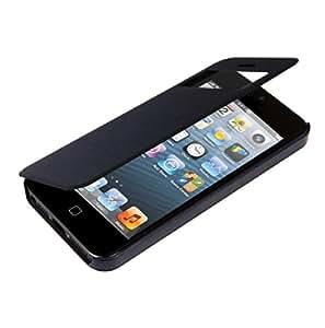 kwmobile Flip Case Hülle für Apple iPhone 5 / 5S - Aufklappbare Schutzhülle mit Sichtfenster im Flip Cover Style in Dunkelblau