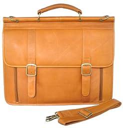 Raphael Rozen Men\'s Leather Flapover Briefcase, Camel, One Size