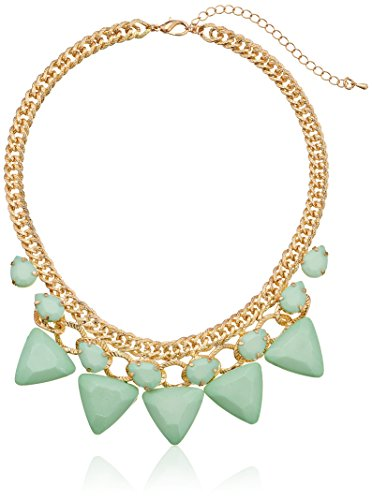 Mint Triangle Cabochon Statement in Gold Tone