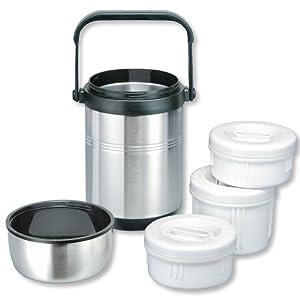 Isosteel VA-9681 Vakuum-Isolierbehälter 1,6 L aus 18/8 Edelstahl mit Griff und 3 Kunststoff-Containern