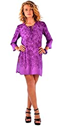 1 World Sarongs Womens Purple Floral Tunic Cover-Up