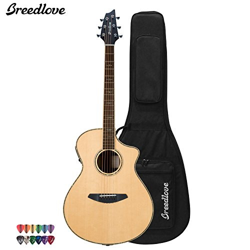 Breedlove Stage Concert Acoustic Electric Guitar With Chromacast 12 Pick Sampler And Breedlove Deluxe Foam Shell Case