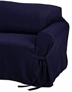 Amazon Jacquard Fabric Solid Navy Blue Couch sofa