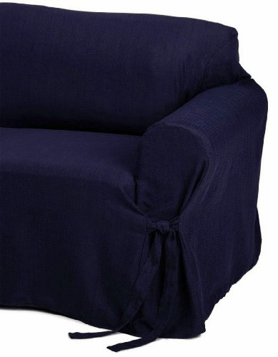 Jacquard Fabric Solid Navy Blue Couch/Sofa Cover Slipcover front-211873