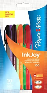 Paper Mate Inkjoy 100 Capped Ball Pen Medium Assorted Fun Colours - Bag of 10