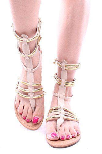 Forever Link Strappy Faux Leather Gladiator Sandals Shoes 6 Beige back-493074