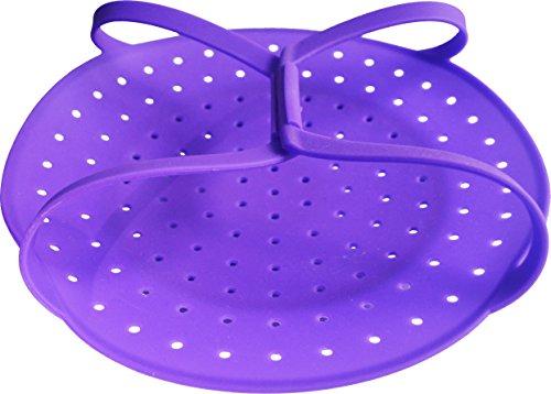 Best Food & Vegetable Silicone Steamer Basket - Super Sturdy Build - Works Perfectly in Pressure Cookers, Microwaves - Total Healthy Cooking Package: Video + eBook + Bonuses (Royal Purple)