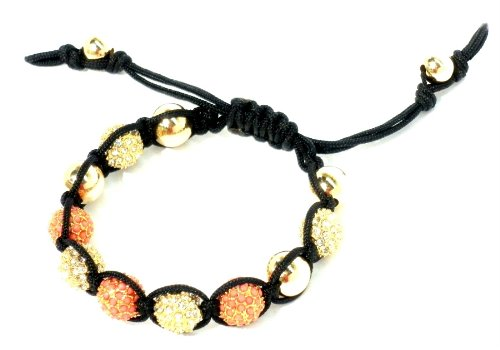 Shamballa Macrame Bracelet with Unique 10mm Gold Plated Coral Pave Gold Plated Crystal Pave and 10mm 14kt Gold Filled Bracelet Unique Very in Style Adjustable Handmade