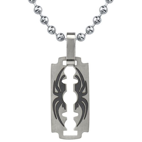 Peora Dangerous Sophistication: Titanium Brushed-finish Razor Blade with Black Spider Pendant on a Steel Ball Chain for Men