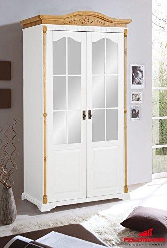 Kleiderschrank Schlafzimmerschrank 518009 Kiefer massiv weiß / honig 112cm 2-turig