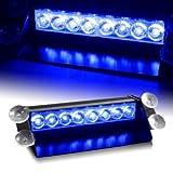 8 LED Car Strobe Warning Tow Dash Blue Light