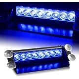 Econoled 8 LED Car Strobe Warning Tow Dash Blue Light