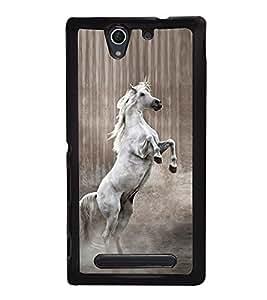 Fuson Premium 2D Back Case Cover Jumping Horse With Brown Background Degined For Sony Xperia C4 Dual E5333 E5343 E5363::Sony Xperia C4 E5303 E5306 E5353