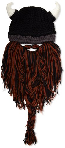 Beard Head Barbarian Pillager Beanie, Brown/Black, One Size front-302196