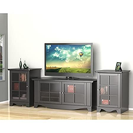 Black 56 Inch TV Stand Set with Two Audio Stands FMP25277