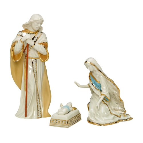 Lenox First Blessing Porcelain 3-Piece Hand-Painted Nativity Set, Holy ...